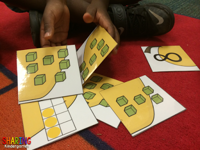 working on apple themed number puzzles