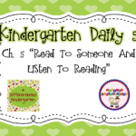 Kindergarten Daily 5 Book Study Chapter 5- Reading with Someone