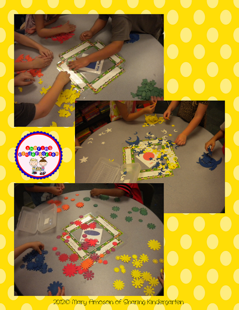 sorting fun using wooden shapes