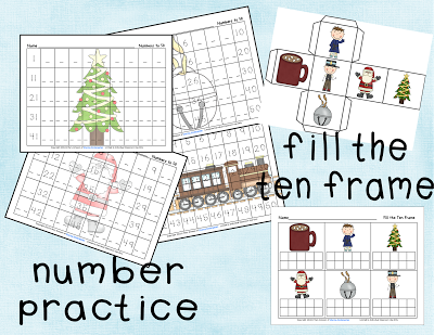 number practice and fill the ten frame game from Polar Express