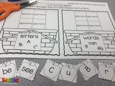 sorting letters and words