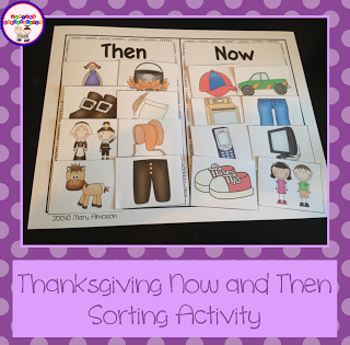 Thanksgiving Now and Then Sorting