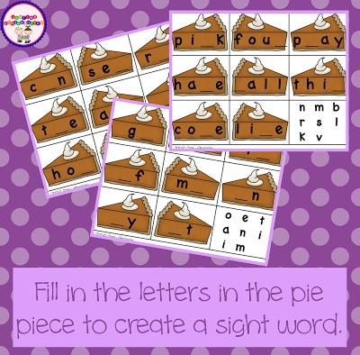 Pumpkin Pie Letter Fill Ins