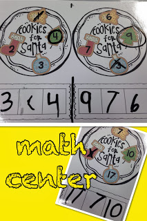 For math- we played this Cookies for Santa game. My students get their plates of cookies. They circle the biggest number, cross out the smallest. Then, they have to use ANY number on the plate and compare them using the boxes at the bottom of the plate.