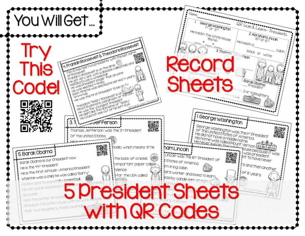 http://www.teacherspayteachers.com/Product/QR-Scan-Learn-Presidents-1105478
