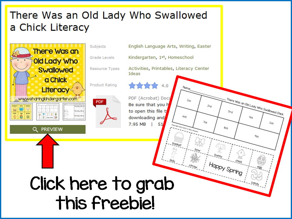 https://www.teacherspayteachers.com/Product/There-Was-an-Old-Lady-Who-Swallowed-a-Chick-Literacy-219276