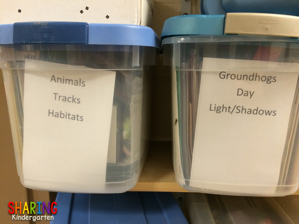 Up close look at bins that are labeled and organized