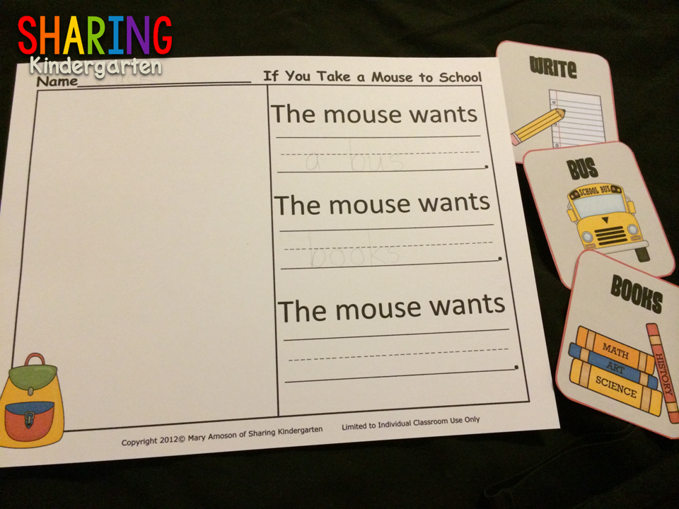 Writing prompt and cards for the book If You Take a Mouse to School