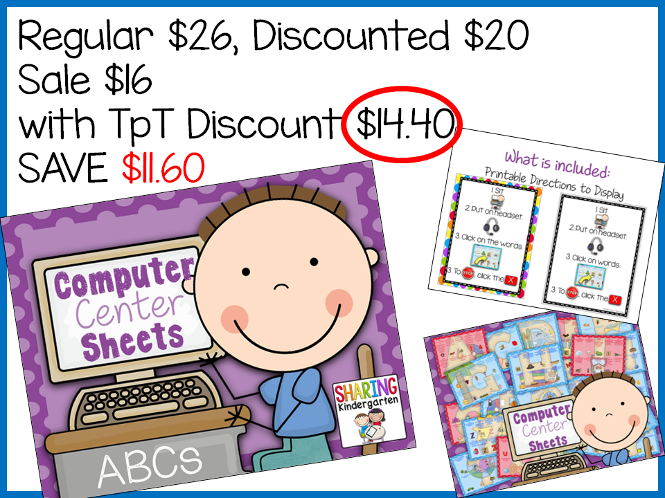 http://www.teacherspayteachers.com/Product/Computer-Center-Sheets-ABCs-1184560