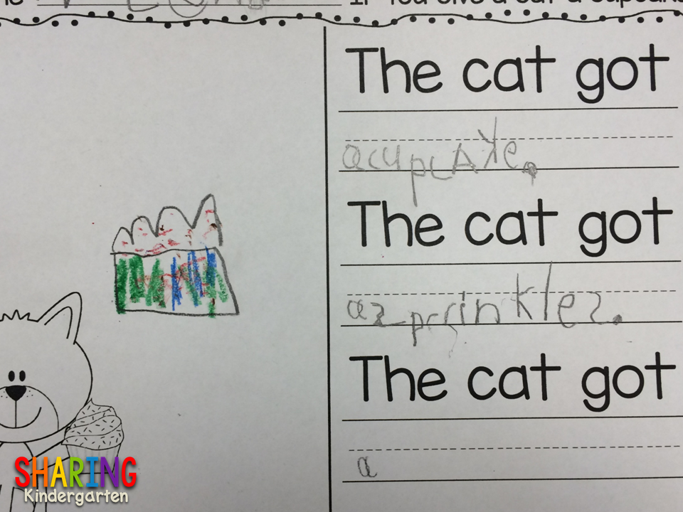 Leveled writing activity for Letter Cc and If You Give a Cat a Cupcake