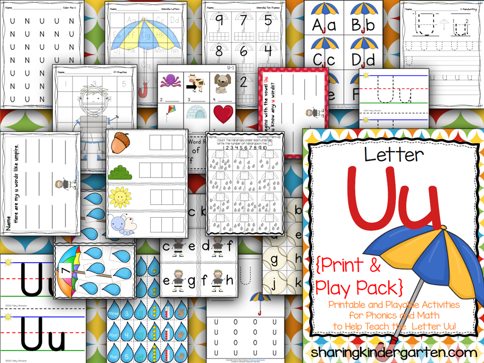 http://www.teacherspayteachers.com/Product/Letter-Uu-Print-Play-Pack-776223