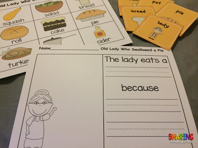 https://www.teacherspayteachers.com/Product/I-Know-an-Old-Lady-Who-Swallowed-a-Pie-Literacy-360320