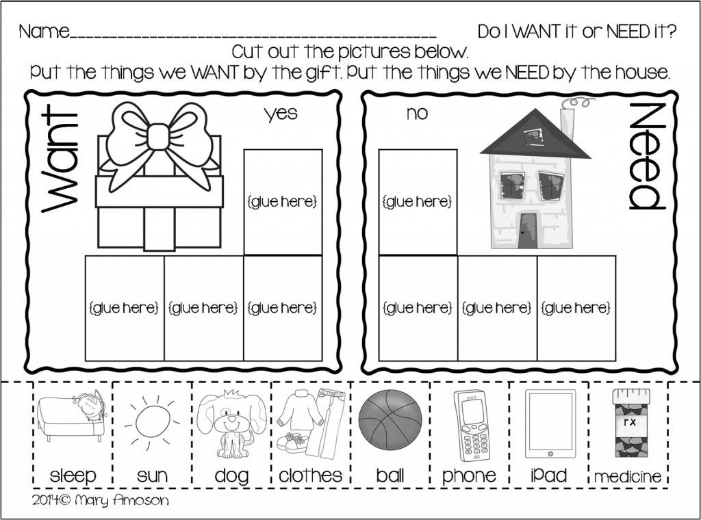 Wants and Needs with a FREEBIE Sharing Kindergarten – Needs Vs Wants Worksheets