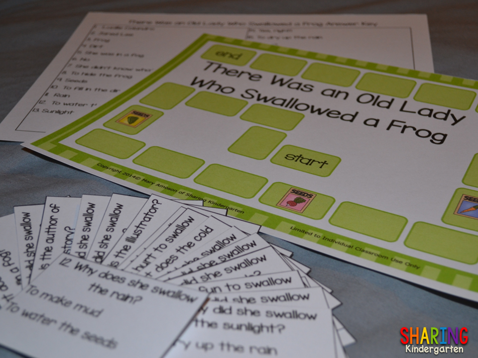 Reading comprehension game for The Old Lady Who Swallowed a Frog