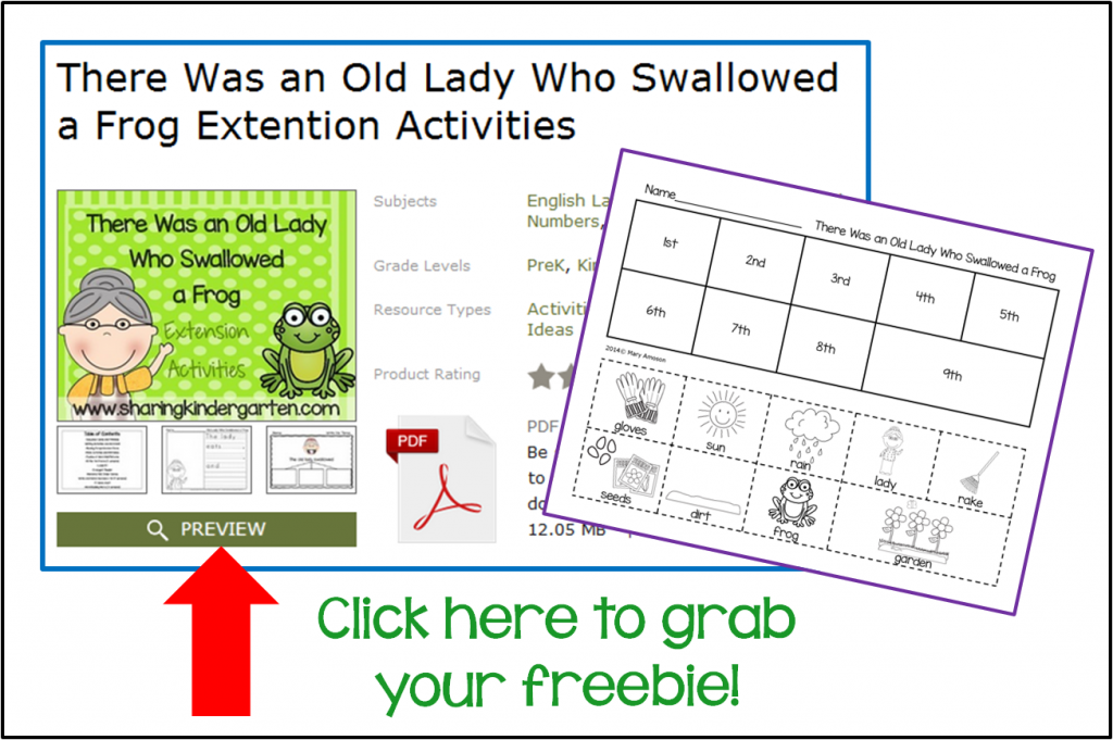 Grab this sequencing sheet! The Old Lady Who Swallowed a Frog