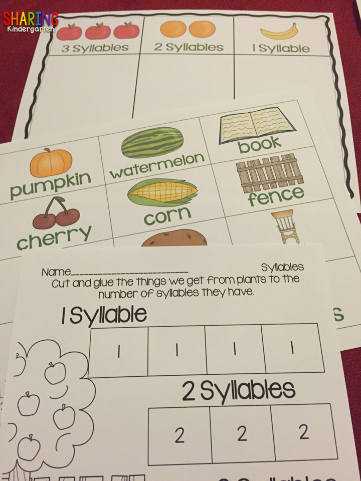 Syllable Sorting FUN with PLANTS