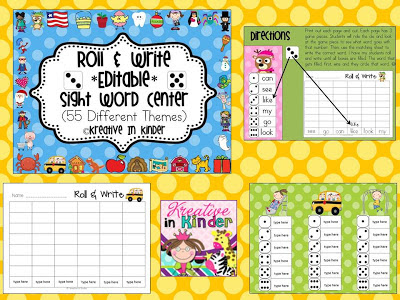 https://www.teacherspayteachers.com/Product/Sight-Word-Roll-Write-Editable-Center-for-All-Year-423455