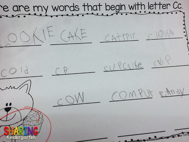 Student example of Letter Cc Chart for If You Give a Cat a Cupcake