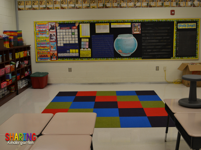 Check out this carpet idea from Sharing Kindergarten