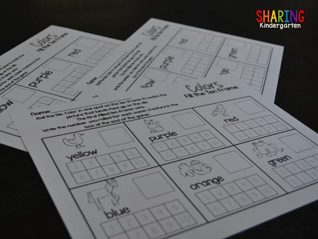 Fill the Ten Frame Game from Sharing Kindergarten