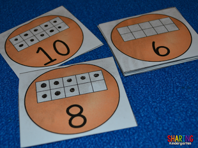orange themed ten frame activity to build number sense