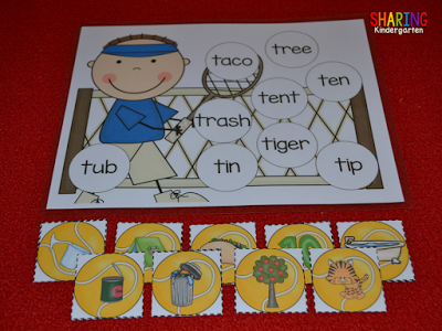All About the Letter T: Tennis themed word matching activity