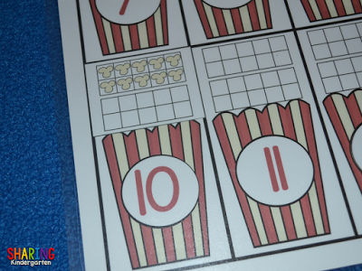 Popcorn ten frame game for kinders