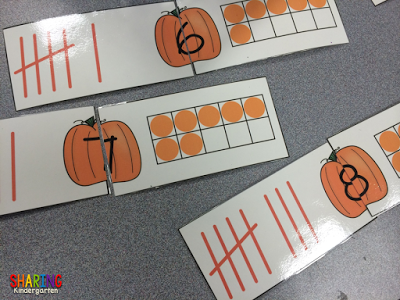 number sense puzzles with a pumpkin theme