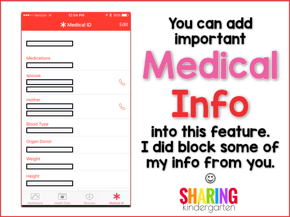 You can add Medical Info into this feature.