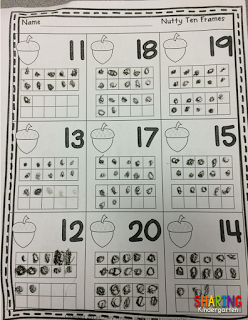 Nutty ten frame for two digit numbers