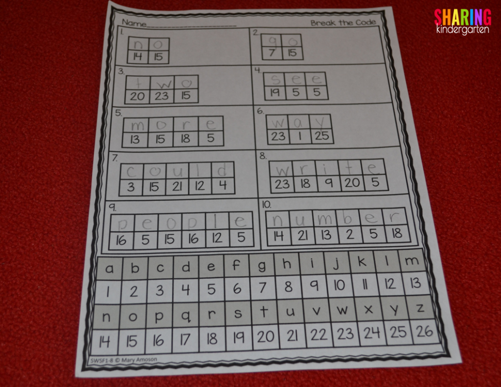 Break the Code Sight Word Activity