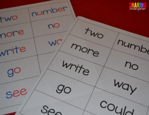 Two types of sight word cards are provided