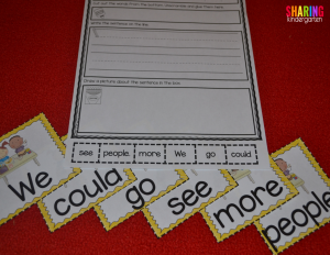 Sentence scrambles to help learn sight words