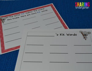 Charting Letter Kk words