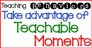 Teaching Behaviors- Step 3 Take advantage of Teachable Moments