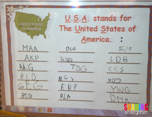 USA Chart for our Initials
