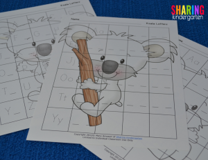 Koala themed handwriting mats