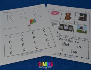letter Kk phonics sheets