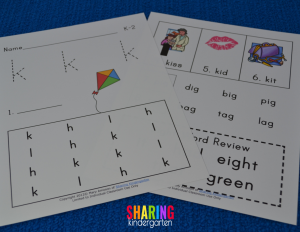more letter Kk phonics sheets