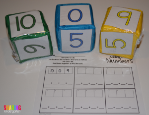 Roll and Write to add three numbers