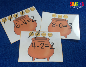 Pots of Gold subtraction practice