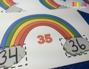 write the number before and after the rainbow