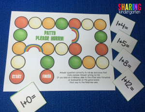 addition game with a shamrock theme