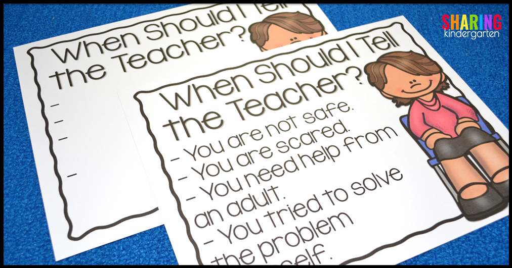 When Should I Tell the Teacher? Printables