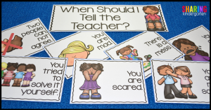 When Should I Tell the Teacher? sorting activity