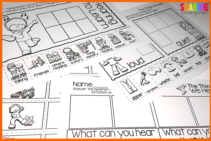 hearing printables- cut and sort as well as writing
