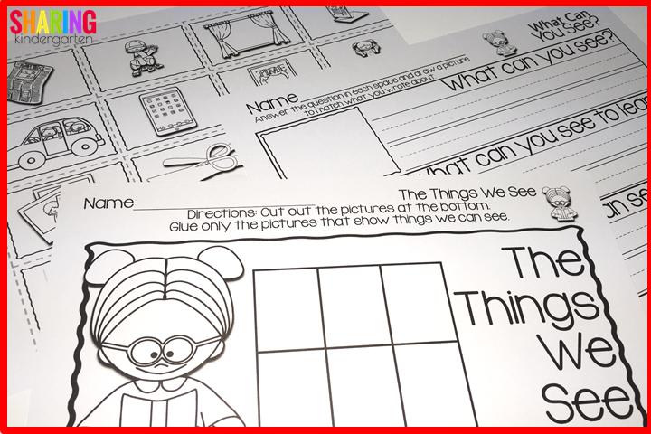 Sense of sight printables- cut and sort and writing