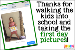 Thanks for walking the kids to school and taking the first day pictures.