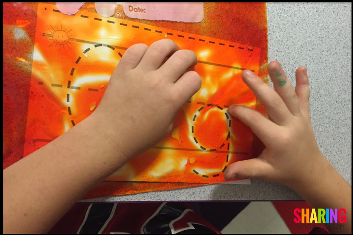 learning adventures using gel bags for letter formation