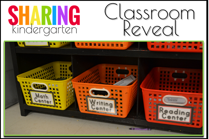 Organized center baskets from Sharing Kindergarten